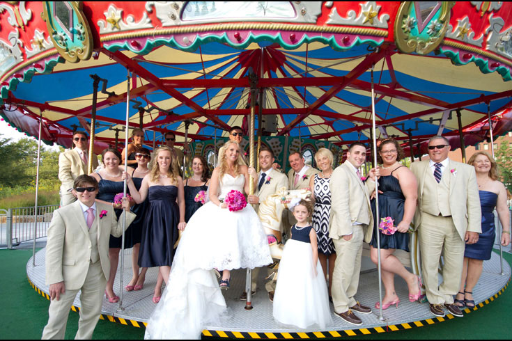 wedding bridal party carousel merry-go-round photo